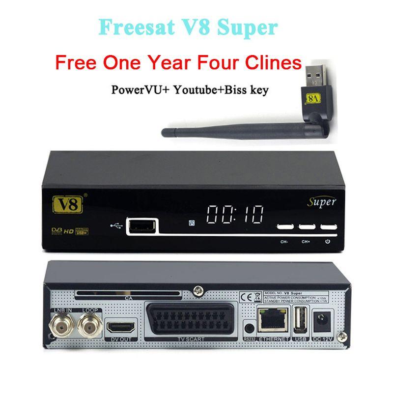 1 Année Europe clines Serveur Freesat V8 Super tv récepteur DVB S2 Full HD Récepteur Satellite avec USB WIFI soutien 3G IPTV youtube
