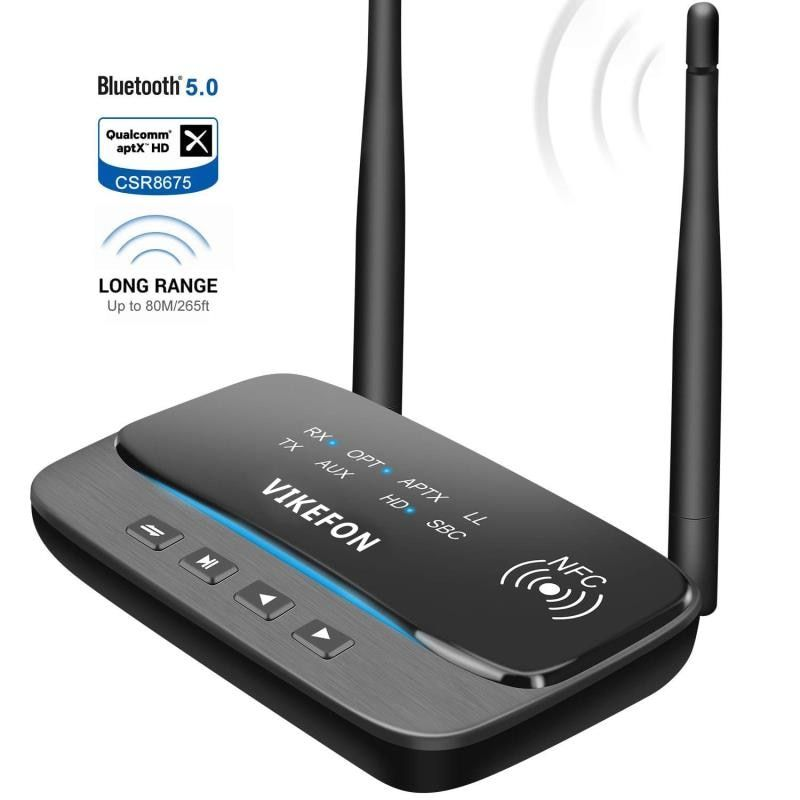 NFC and 262ft/80m Long Range Bluetooth 5.0 Transmitter Receiver 3in1 Audio Adapter Low Latency aptX HD Optical RCA AUX 3.5mm TV