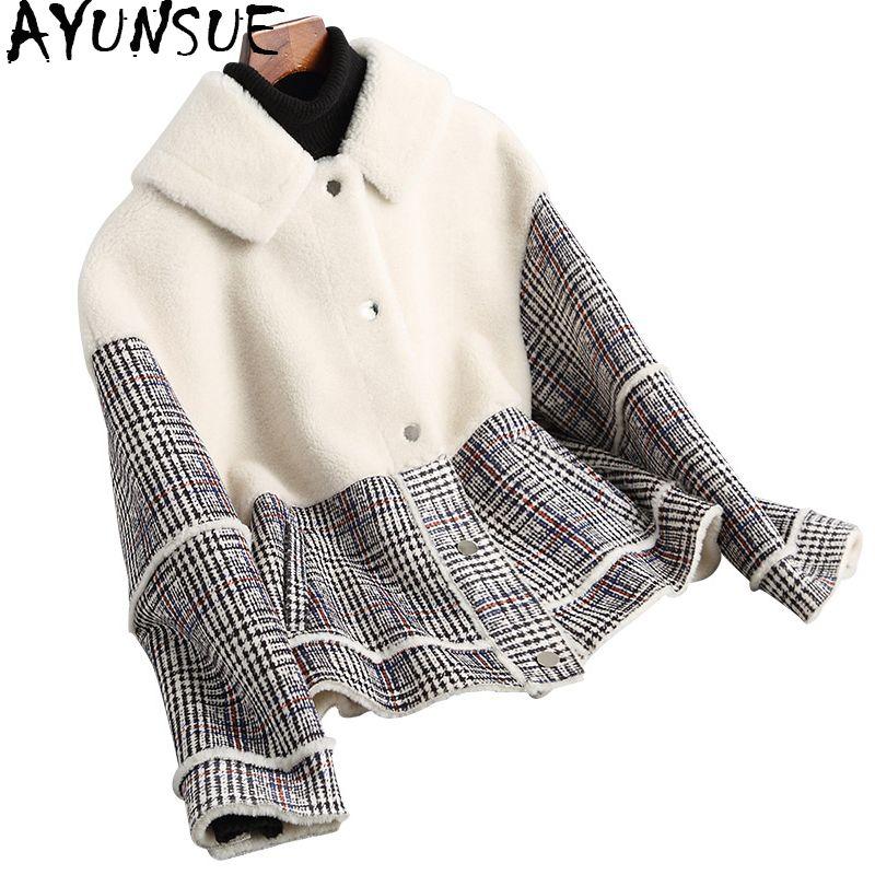 AYUNSUE 2018 Mode England Dick Echt Wolle Pelz Mantel Frauen Plaid Herbst Winter Jacken Verbund Pelz Mäntel Outwear 18007 YQ1761