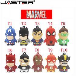 Jaster Pena Drive Asli 4 GB 8 Gb 16 GB 32 GB 64 GB USB 2.0 Flash Drive Flashdisk Kartun karakter Superman Batman Drive USB