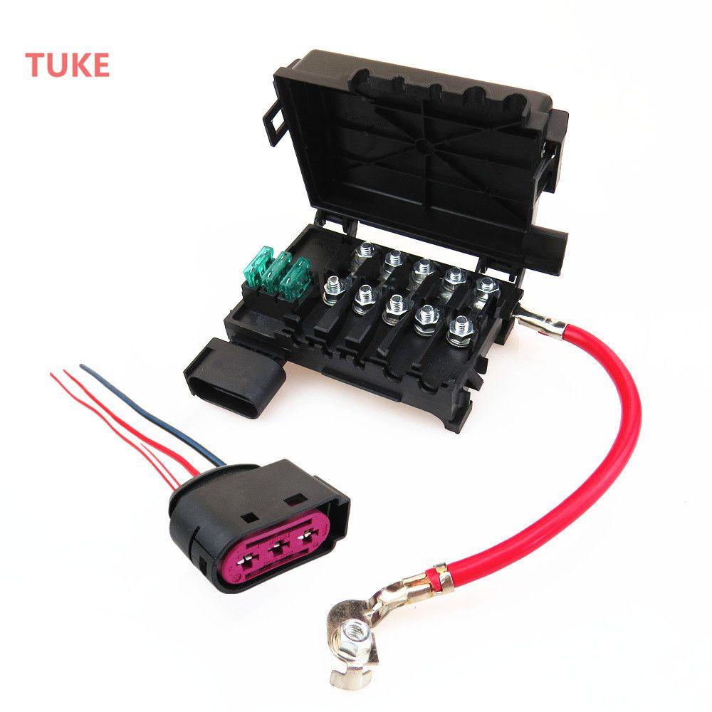 TUKE 1 Set Battery Circuit Fuse Box Assembly + Plug Cable For A3 S3 VW Beetle Bora Golf MK4 Jetta Seat Leon 1J0937617D 1J0937773