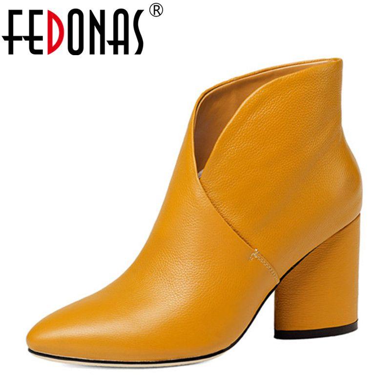 FEDONAS Femmes Cheville Bottes Élégant Chaud Bottes D'hiver En Cuir Véritable Dames Chaussures Femme À Talons Hauts Moto Martin Bottes