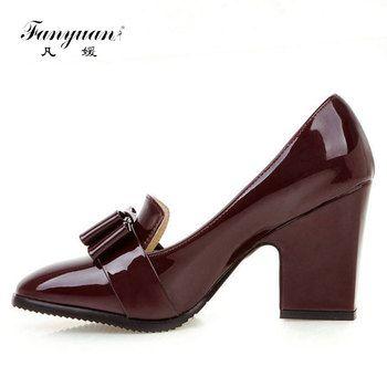Fanyuan Dame de Haute Qualité PU Cuir Épais Talon Femmes Pompes Pour femmes De Mode Bowtie Bout Carré Haut Talon Slip On Pompes Chaussures