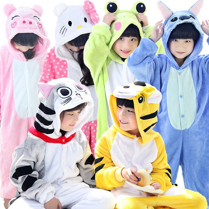 2019 2-11Y Girls Boys Winter Children Flannel Animal Pajamas Kid Clothes Pegasus Pyjamas Romper Sleepwear Infantil Pijamas