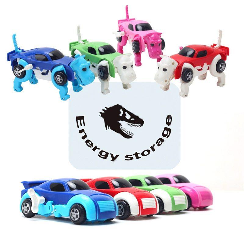 Прохладный автоматическое преобразование собака автомобиль 4 вида цветов автомобиля Заводной Wind Up разнообразие игрушек милый забавный дев...