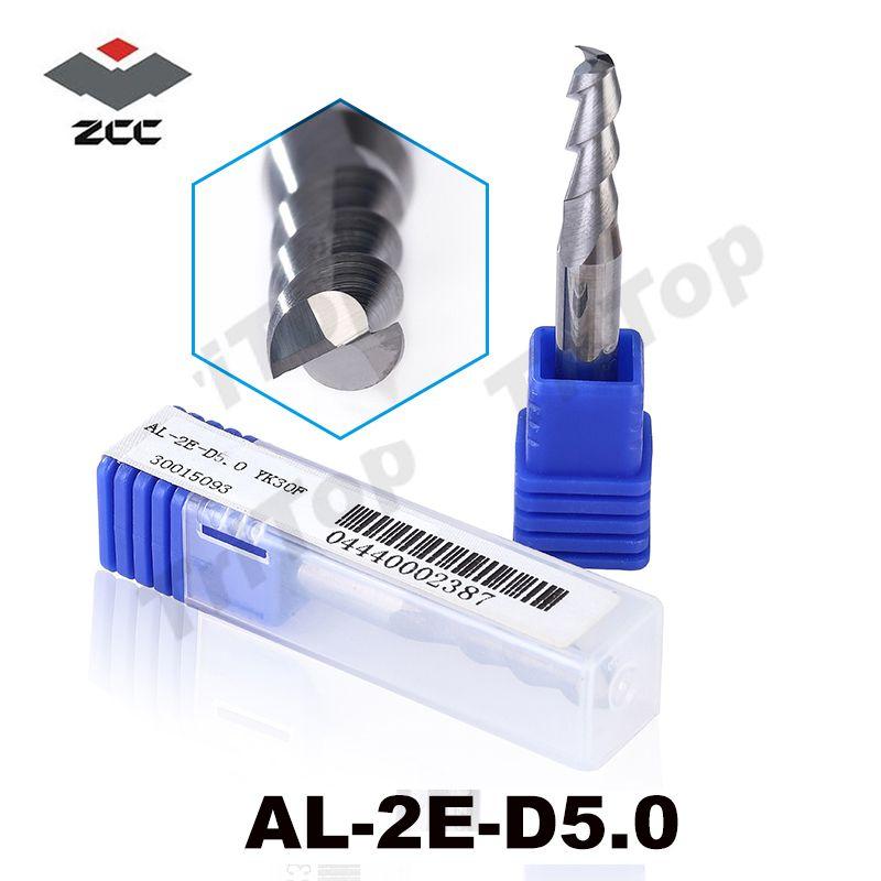 5 pcs/lot AL-2E-D5.0 ZCC. CT D5.0 usinage aluminium tungstène cobalt alliage fin fraise 5mm al alliage CNC fraise