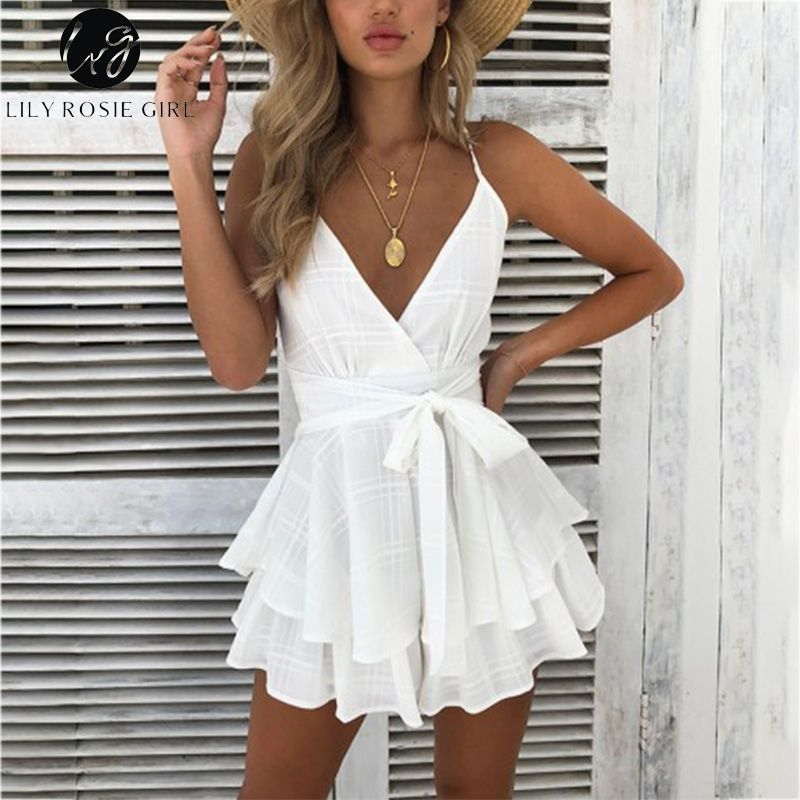 Lily Rosie Girl V Neck Sexy Female Playsuit Spaghetti Strap Plaid Boho Floral Summer Playsuit Shorts Jumpsuit Rompers Vestidos