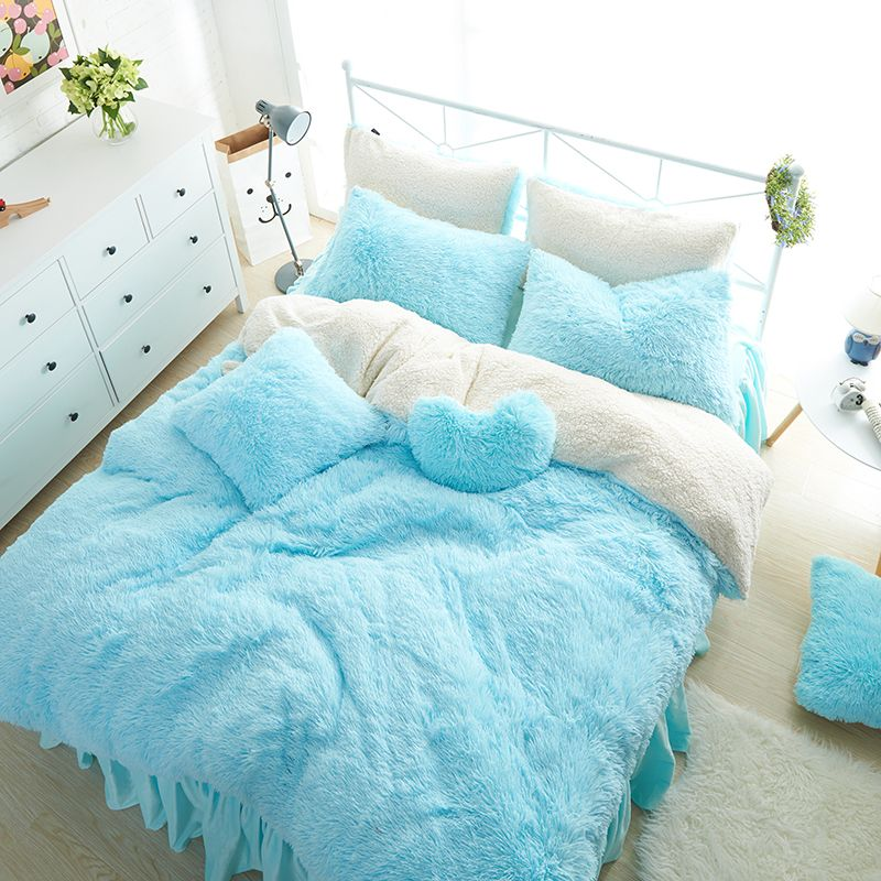 White Blue Princess <font><b>Girls</b></font> Bedding set Thick Fleece Warm Winter Bed set King Queen Twin size Duvet cover Pillow Cover Bed skirt