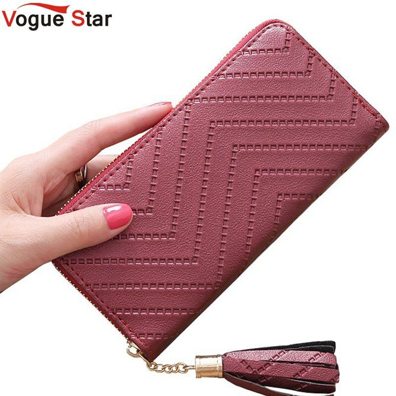 Vogue Star New Fashion leather Women Wallet tassel luxury brand casual PU Wallet Long Ladies Clutch Coin Purse  LB513