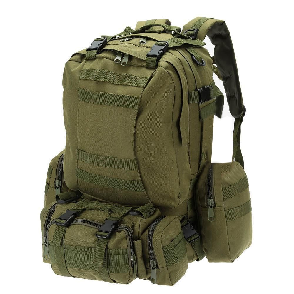 55L Outdoor Army Bag Camping Hiking Trekking Backpack Camo 3P