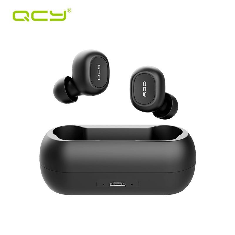 QCY QS1 T1C TWS Bluetooth V5.0 casque sport sans fil écouteurs 3D stéréo écouteurs Mini dans l'oreille double Microphone avec boîte de chargement