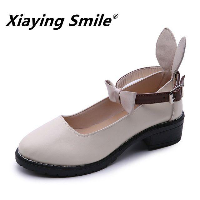Xiaying sourire automne nouveau style petites chaussures en cuir femmes britannique collège style arc avec fond épais chaussures décontractées