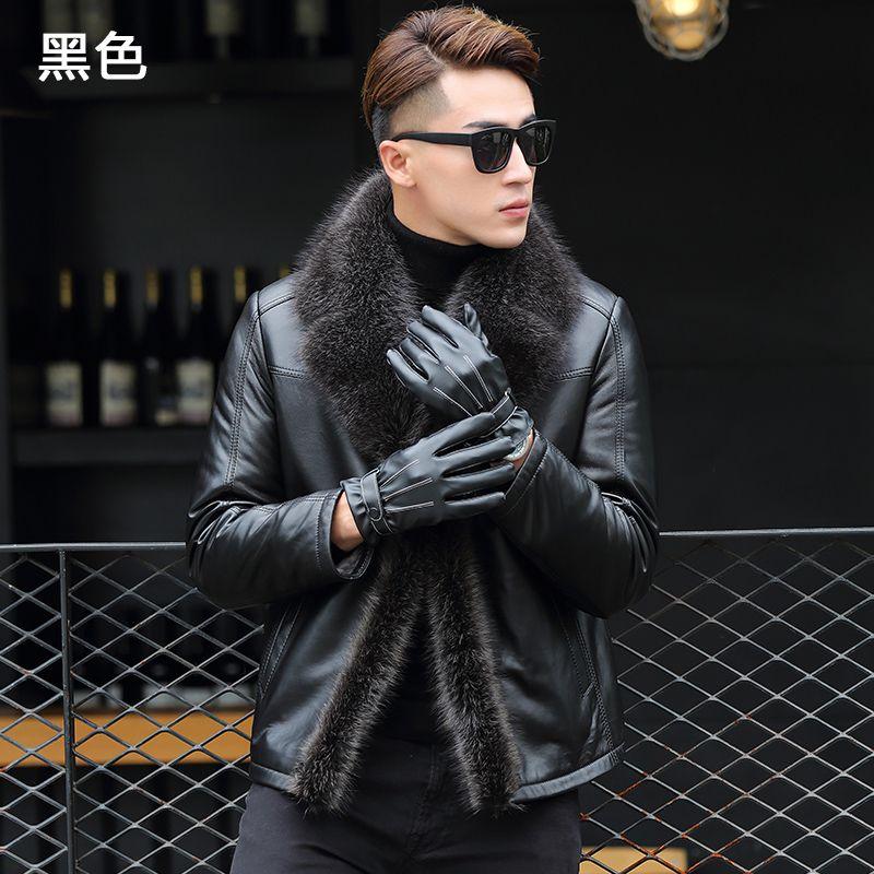 QT1615 Haining Leder Pelz-in-Ein Waschbär Pelz Kragen Männlichen Pelz Verdickt Jacke YT003-P1450