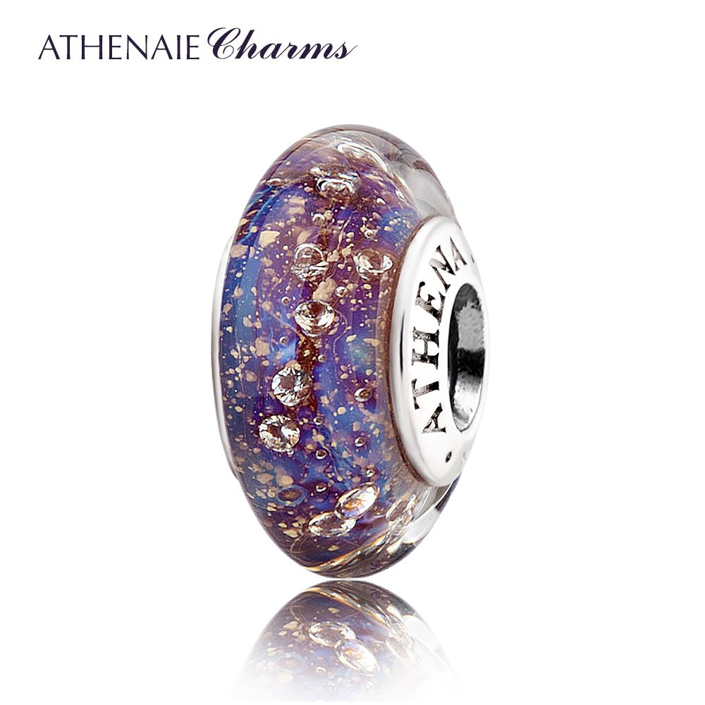 ATHENAIE Authentic 925 Sterling Silver Purple&Blue Clear CZ Murano Glass Beads Fit Original European Charm Bracelet S925 Jewelry