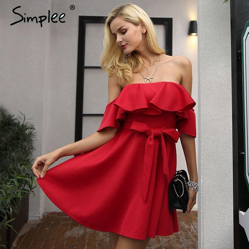 Simplee Off shoulder ruffle red women dress Sexy strapless waist belt loose dress vestidos Autumn night female party club dress