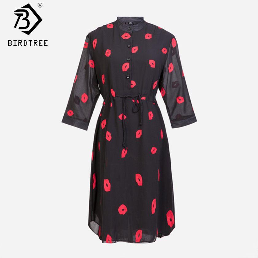 Vestidos Femininos été mignon rouge lèvres imprimer Stand demi manches femmes robe en mousseline de soie grande taille blanc, noir S-4XL D54202