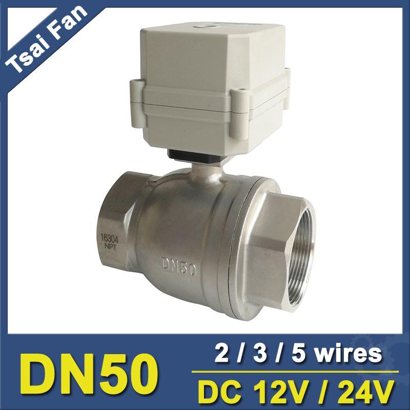DC12V/24 V 2/3/5 Drähte SS304 BSP oder NPT 2 ''Motorventil 2 Way DN50 Elektrische Betätigte Ventil Für Wasser Anwendung Metall getriebe