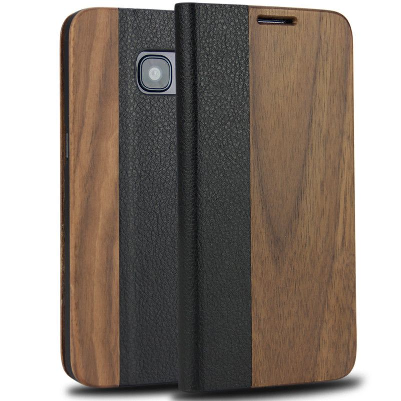 Magnetic Flip Case For Samsung Galaxy S7 <font><b>edge</b></font> Case Genuine Leather with Natural Wood Bamboo Phone Cover For Galaxy S7 <font><b>edge</b></font>