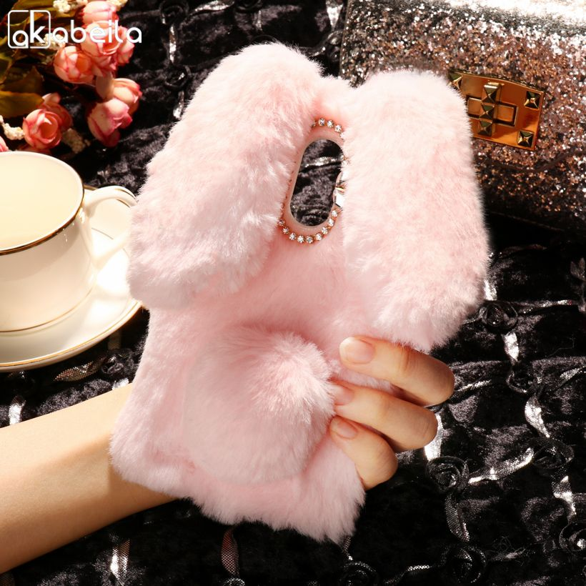 AKABEILA Silicon Case For LG Stylus 3 Cases Stylo 3 K10 Pro LS777 M400DK Rabbit Hair Diamond Soft TPU Cute Anti-knock Cover
