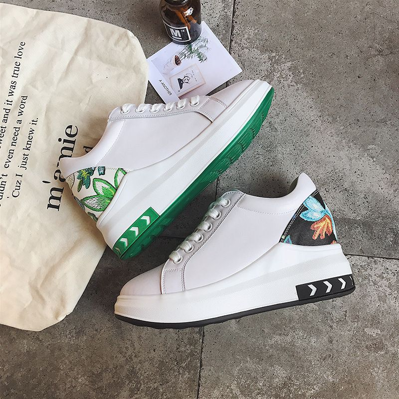 2018 Spring New Korean School Flat Spelling Within Increase Small White Woman Flowers And Plants Women's Shoes Piece Of HairALEX