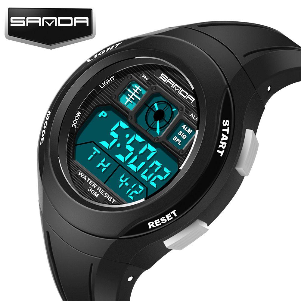 SANDA marque enfants de sport montre de natation montre de sport de bande dessinée casual montre numérique garçon fille LED multi-fonction montre
