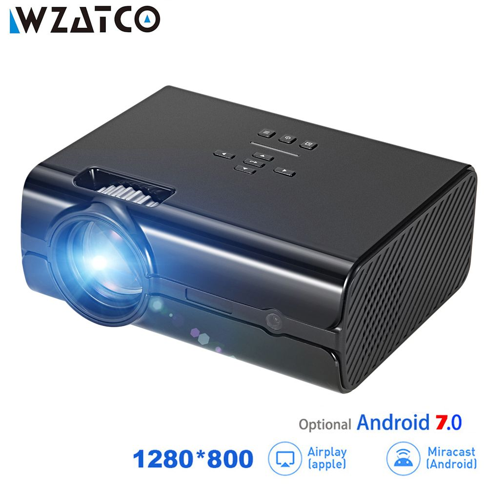 WZATCO CT68UP MINI Projector 2500lumens 1280*800 TV 1080P Video 3D LED Projector Android 7.0 Support 4K WIFI Beamer Proyector