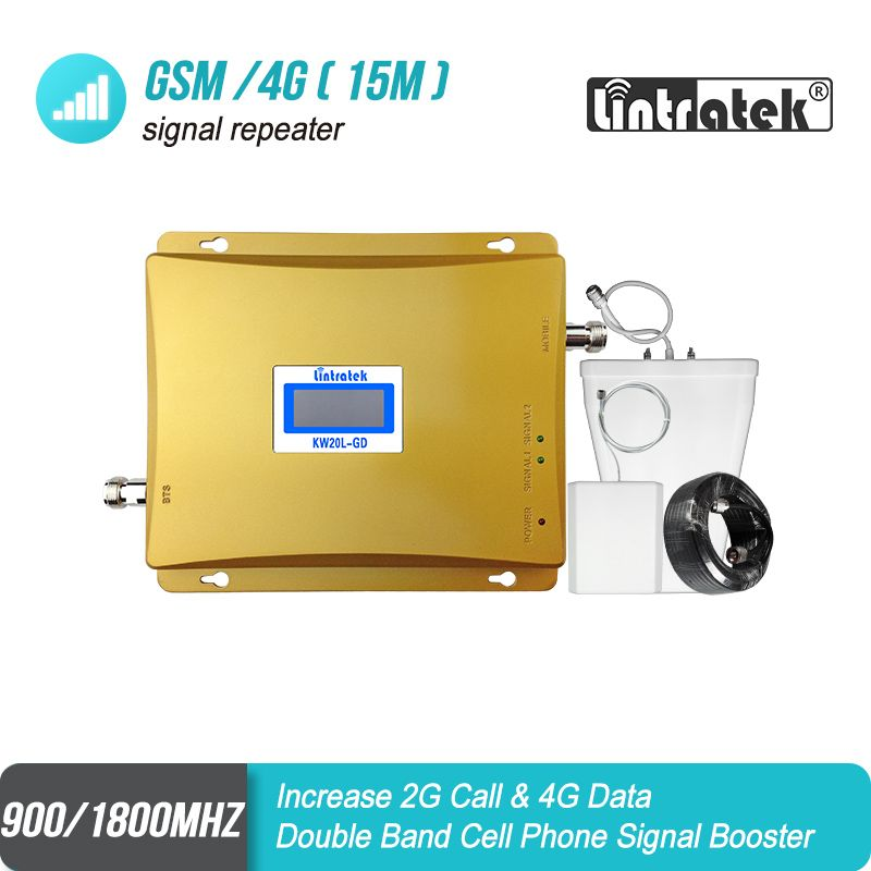 Lintratek LCD Display GSM 900 LTE 1800 Mobile Phone Signal Repeater 2G 4G Signal Booster 65dB Dual Band Celular 4G Amplifier#8+2