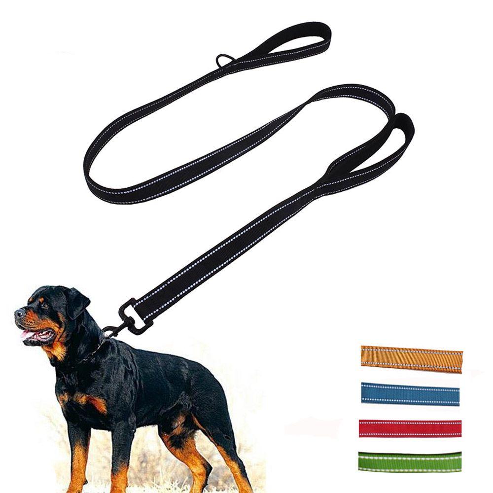 Vugsuce двойная ручка для собаки поводок нейлоновой веревкой черный светоотражающие собака поводок для щенка mediu ошейник для большой собаки бе...