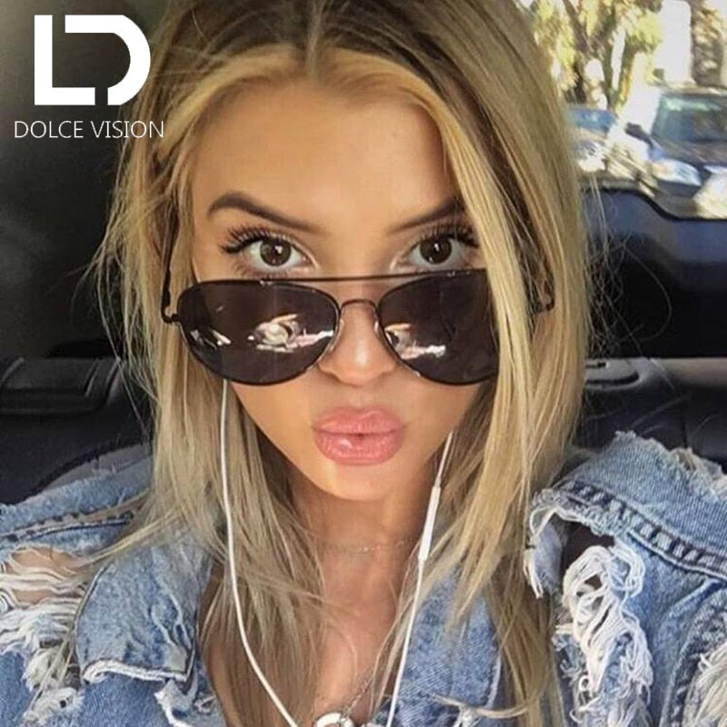 DOLCE VISION classique Poalrized lunettes de soleil femmes pilote miroir marque de mode Designer nuances Oculos femme Lunette UV400 lunettes