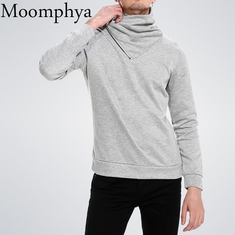 Moomphya Cowl neck Men sweatshirt hoodies Warm Fall winter Zip Turtleneck hip hop hoodie men