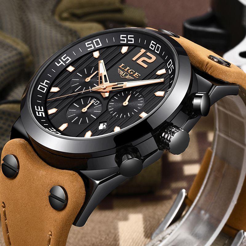 LIGE Mens Watches Top Brand Luxury Chronograph Military Sport Watch Men Leather Waterproof Quartz wristWatch Relogio Masculino