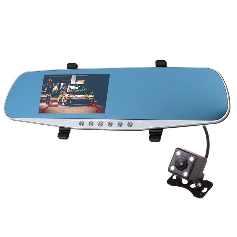 Двойной Камера Full HD 1080 P Видеорегистраторы для автомобилей черный ящик Зеркало заднего вида с обратный заднего вида Парковка Камера детекто...