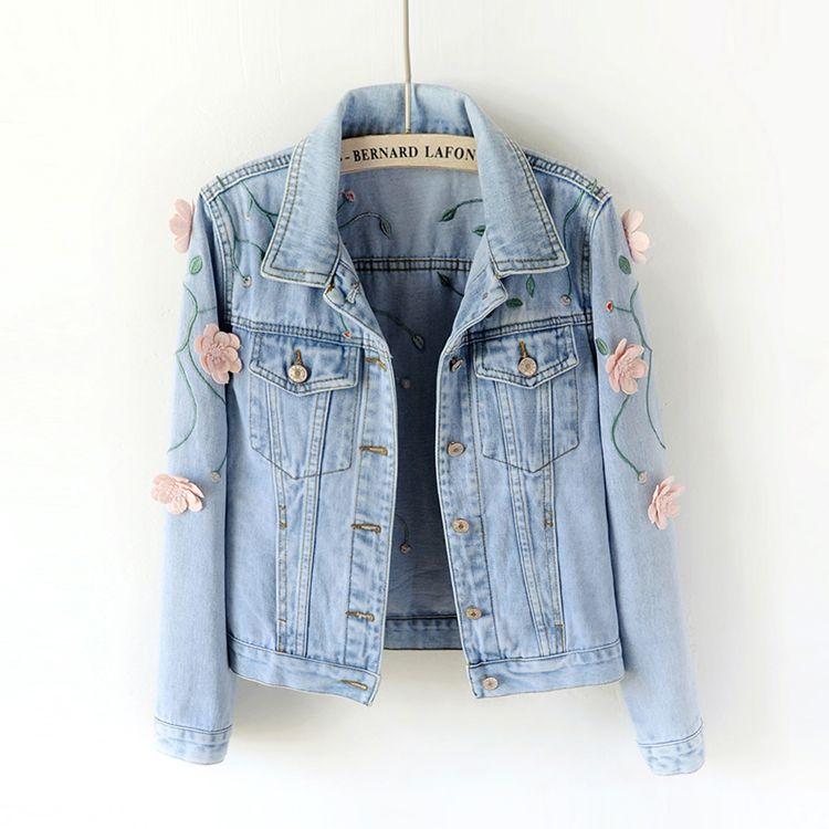 2018 Spring Women Slim Embroidered Three-dimensional Flowers Long Sleeve Denim Jacket Women's Jeans Coat 1666