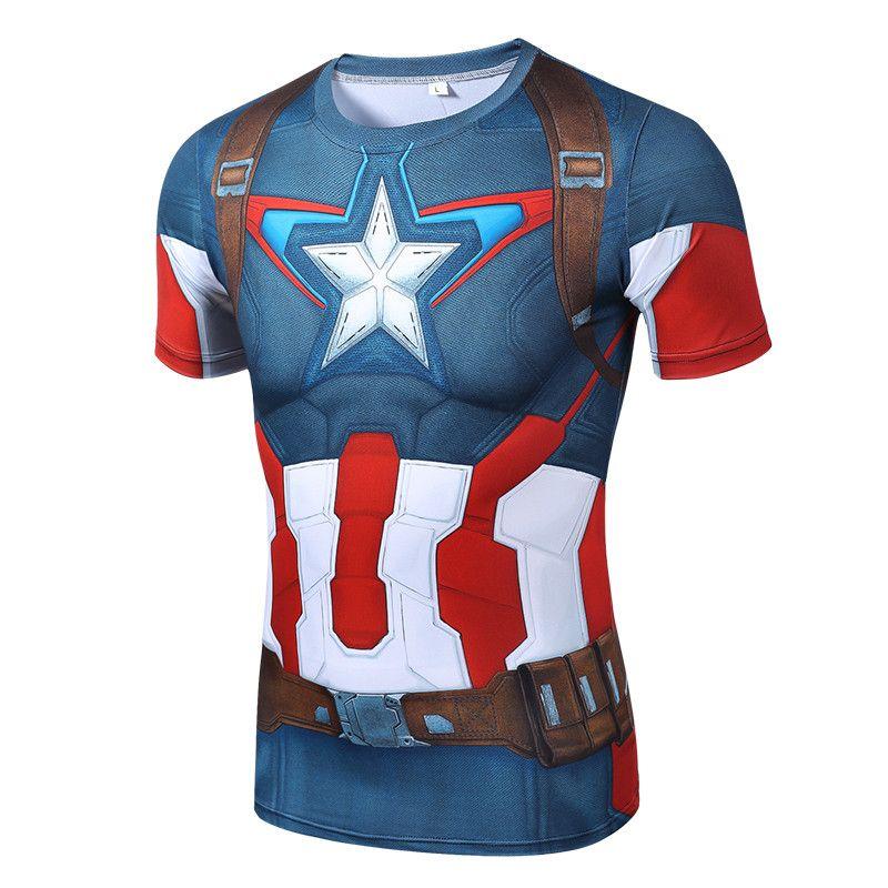 2016 3D TShirt Hohe qualität schnell trocknende polyester neue mode herren kurzarmhemd superman captain america t-shirt männer schlank