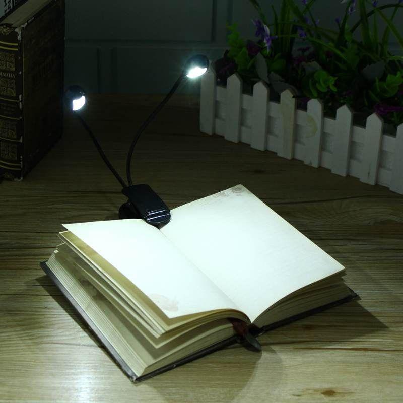 Flexible LED Libro Luz lámpara de Lectura Lámpara de Escritorio Clip Lámpara De Mesa Simple/Doble Barra Para Kindle Estudio Con Enchufe de EE.UU.