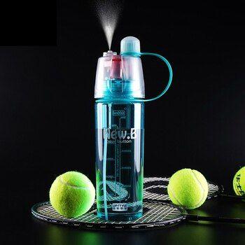 New Creative Sport Spray Bottle Water Bottle Outdoor Bicycle Cycling Drinking Bottles Cooling Down Body Water Mist Gym Bottles