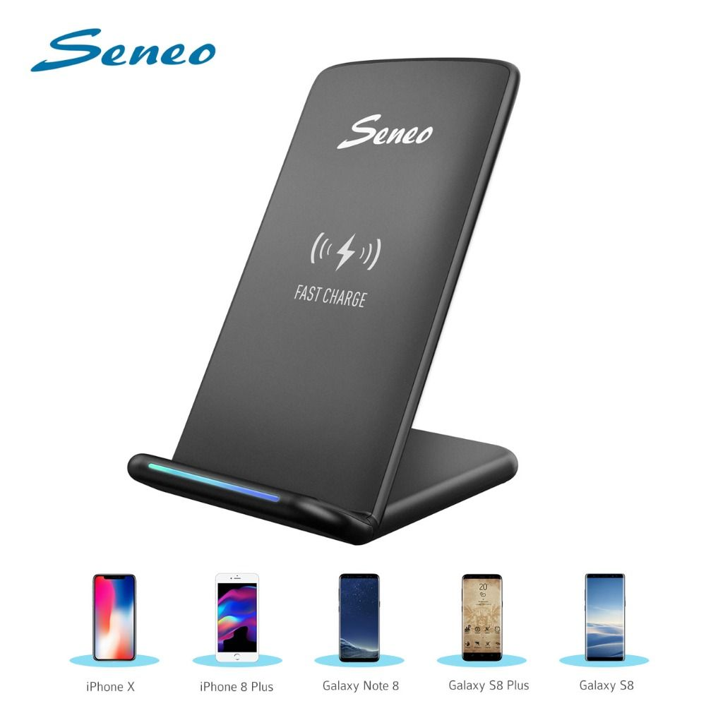 Seneo Cellphone Charging Stand Qi Wireless Charger 5W/10W Fast Quick Charger For iPhone XS MAX/XS/X/8 Huawei Mate 20 Pro Samsung