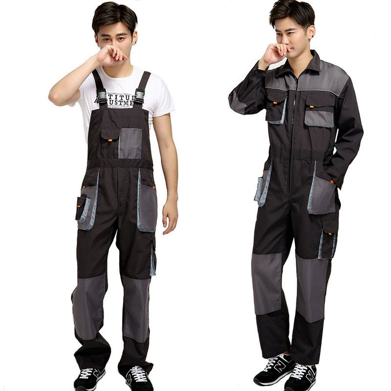 Bib overalls men work coveralls <font><b>protective</b></font> repairman strap jumpsuits pants working uniforms plus size sleeveless coverall