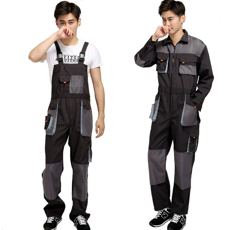 Bib overalls men work coveralls protective repairman strap jumpsuits pants working uniforms plus size sleeveless coverall