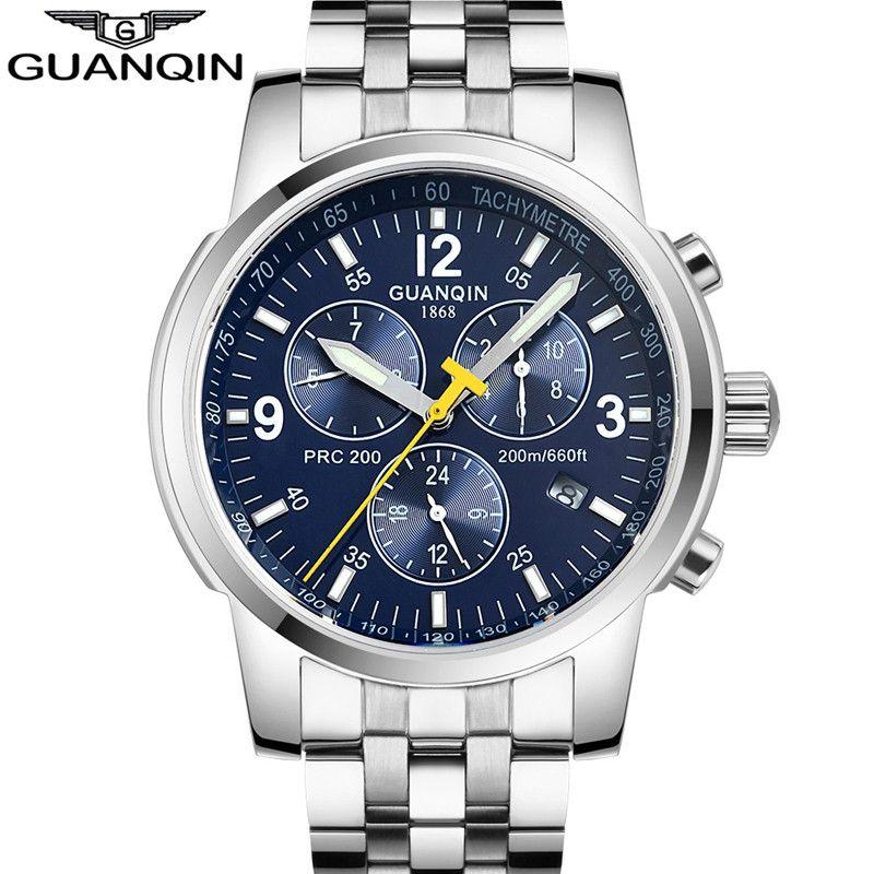 Mens Watches Top Brand Luxury GUANQIN Watch Men Automatic Self-Wind Luminous Clock Sport Full Steel Wristwatch relogio masculino