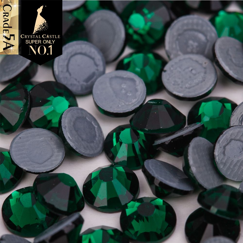 Cristal château Hot Fix cristal plus haute qualité 5A couleur Strass 2038 vert Hotfix Strass colle retour verre Strass pour chaussures