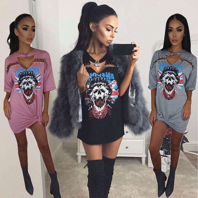 Femmes Sexy col en v Punk Long T-shirt hauts 2019 nouveau Style squelette Pin rue Rock T-shirt décontracté T-shirt Tumblr