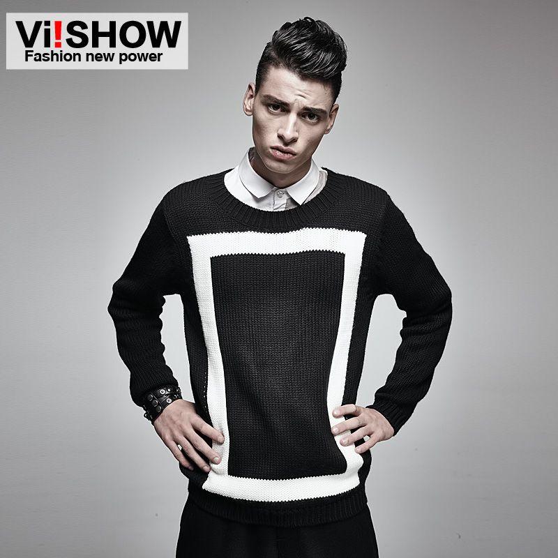 Viishow геометрический свитер Для мужчин пуловер Для мужчин О-образным вырезом вязаный свитер Slim Fit Для мужчин свитер хип-хоп Для мужчин Костюм...