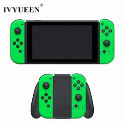 IVYUEEN for Nintend Switch Joy-Con Neon Green Pink Shell Case for JoyCon Controller Replacement Housing Cover with Middle frame