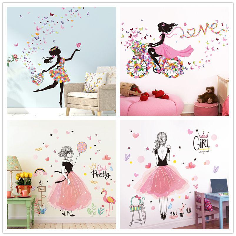 [SHIJUEHEZI] Fée Fille autcollants muraux bricolage Papillons Fleurs frise murale dessin animé Stickers pour Maison Chambre D'enfants Décoration Chambre Bébé