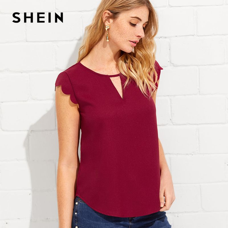 SHEIN V Notch Front Scallop Trim Curved Hem Top Burgundy Round Neck Cap Sleeve Blouse 2018 Summer Casual Women Cut Out Tops