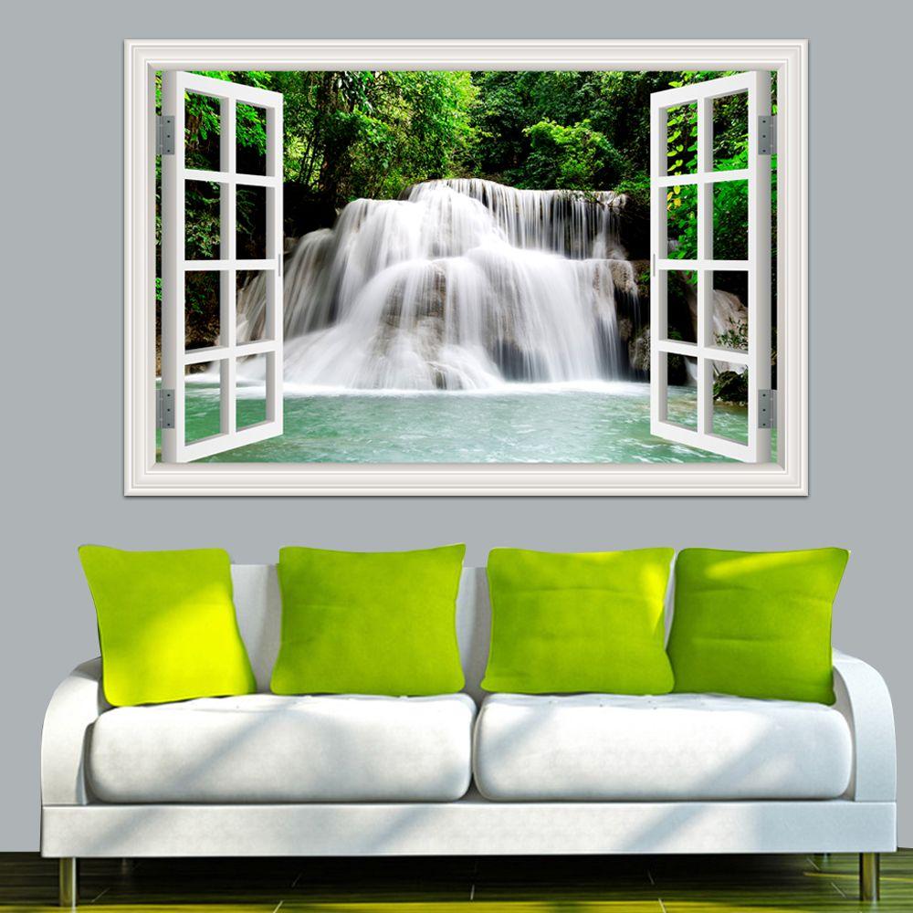 2019 stickers muraux cascade 3D fenêtre vue papier peint Nature paysage chambre décor paysage mur autocollant vinilos decorativos ation