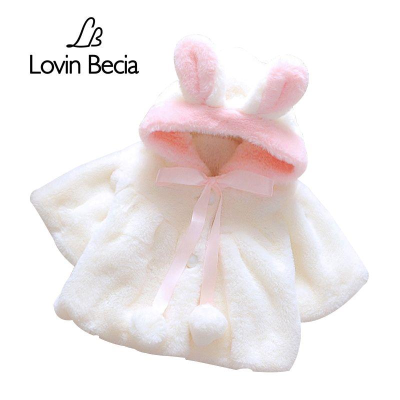 Lovinbecia для маленьких девочек с милыми заячьими ушками пальто с капюшоном для малышей Мех животных зимой держать теплое пальто плащ куртка дл...