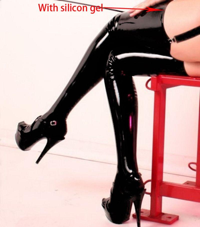 Женские черные ПВХ Pole Dance Чулки для женщин лакированной кожи Клубная одежда Длина 90 см Микро Мини-Латекс Чулки для женщин бедра с нескользящ...