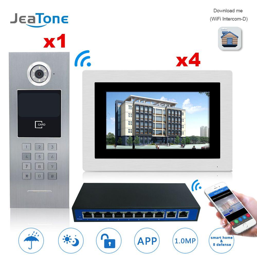 7 ''Touch Screen WIFI IP Video Tür Sprechanlage + Schalter 4 Etagen Gebäude Access Control System Unterstützung Passwort /IC Karte